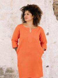 full length view of orange linen cotton tunic dress