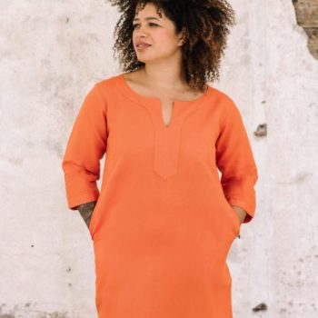 full length view of orange linen cotton tunic dress