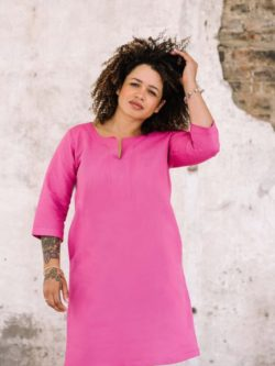 full length of pink linen cotton tunic dress