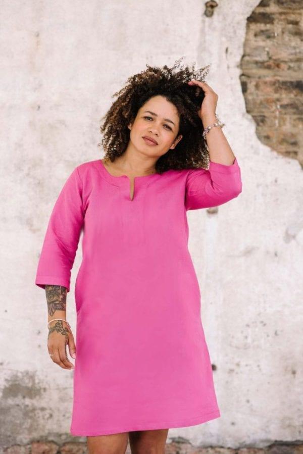 full length of pink linen cotton tunic dress