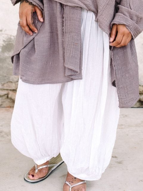 close up of white harem trousers