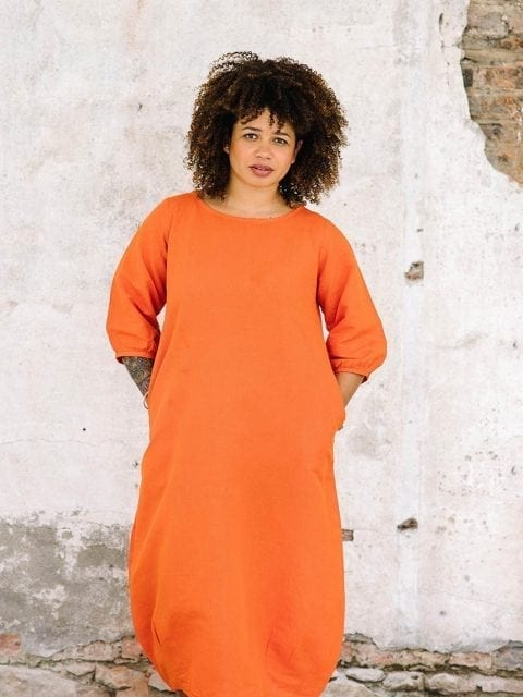 full length view of orange linen blend maxi dress