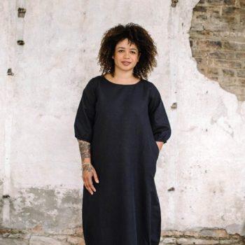 Full view of linen blend maxi dress