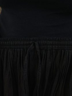 Close up of the waistband on black palazzo trousers