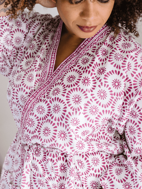 close up of framboise kimono dressing gown