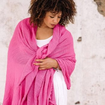 pink khadi cotton wrap with white harem trousers