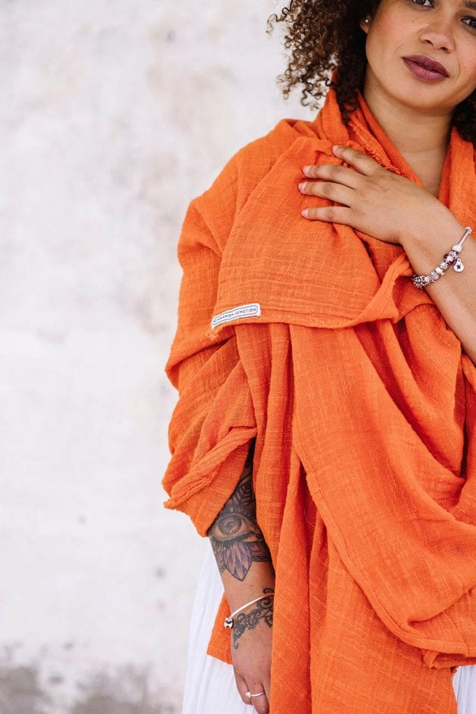 Orange khadi cotton wrap