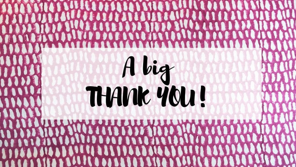 'a big thank you' writeen in black on a background of Raspberry Indian Monsoon block print bedding