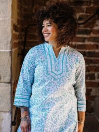 Natalie wearing Indigo Mint Organic Cotton Tunic