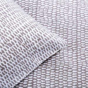 Detail of reversible pattern of Turtle Dove Grey Monsoon block printed duvet set