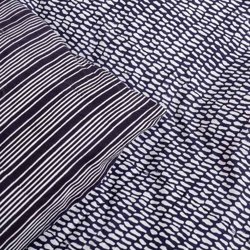 Detail of reversible Midnight Blue Monsoon block printed duvet set