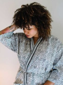 A close up of Natalie wearing Ebony and Ivory Kimono Dressing Gown