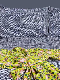 Midnight Blue block printed bed with a citrus dawn kimono