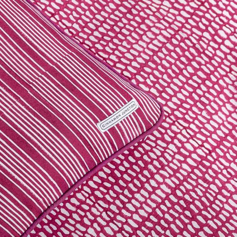 Pink Block Printed Bedding Ethically, Raspberry Colored Bedding