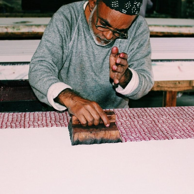 Zahir block printing our Raspberry Indian Monsoon Bedding