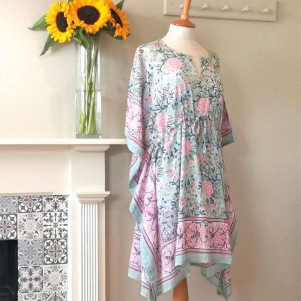 Camellia block printed cotton kaftan on a mannequin