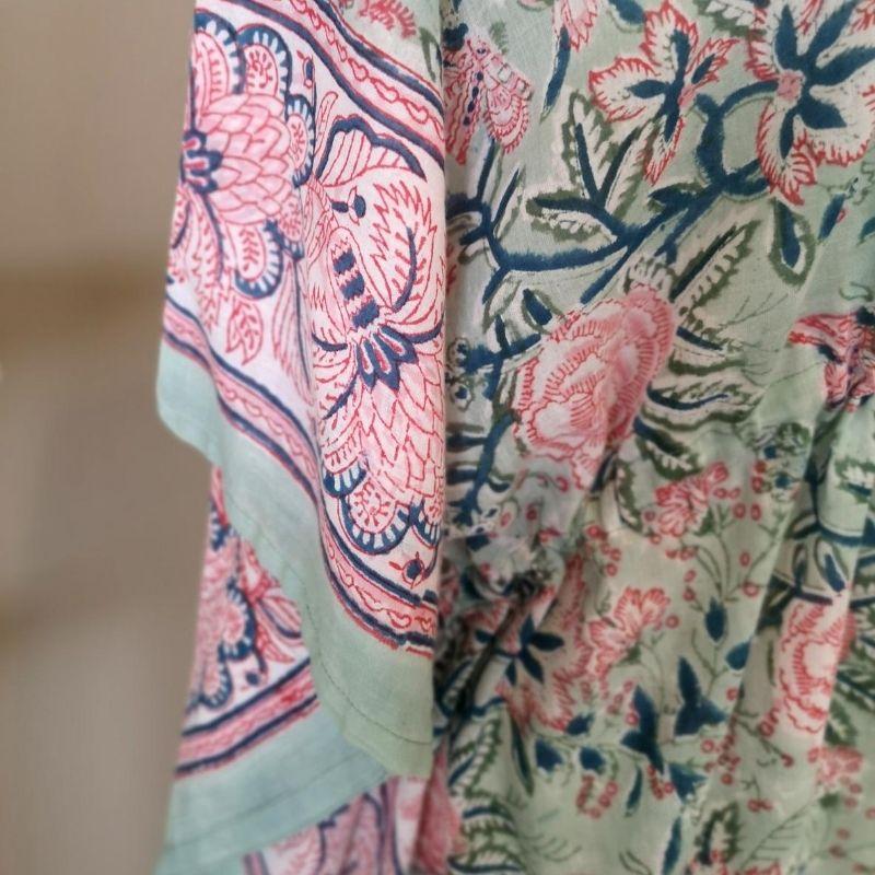 Detail of sleeve border of Camellia block printed cotton kaftan