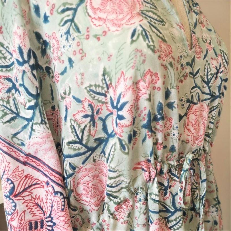 Detail of the drawstring of Camellia block printed cotton kaftan