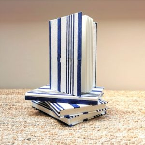 Cobalt Blue Stripe recycled cotton paper notebook