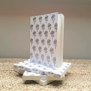 Silver Bloom silver and white recycled cotton paper notebook