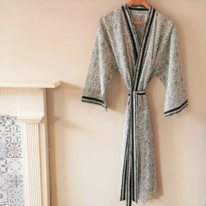 Full length image of the Ebony and Ivory black and cream cotton kimono