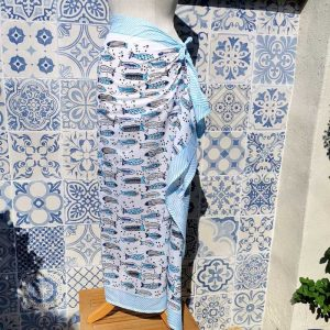 Full view of the Blue Block Printed Sarong wrapped around the waist of a mannequin