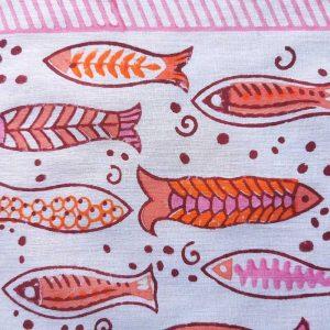 Close up of the Pink Block Printed Sarong design